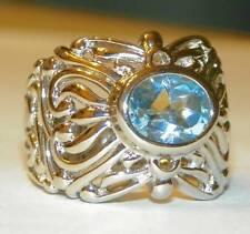 Sterling Silver Oval Blue Topaz Ring Big Bold Filigree Design - 8
