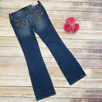 Women MEK DNM Chicago Boot Cut Jeans Size 29 x 34 Tall Embellished Back Pockets