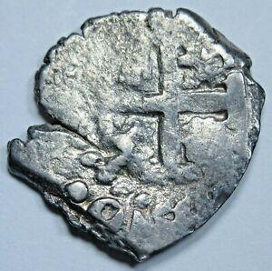 1700's Potosi Bolivia Silver 1/2 Reales Antique Spanish Colonial Pirate Cob Coin