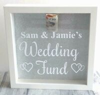 PERSONALISED WEDDING FUND GIFT White Money Box Silver Glitter Engagement Present