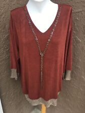 New $99 Chico's Travelers Rich Mahogany Tassel Trim Tunic Top Sz 2 L 12 14 NWT