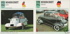 2 FICHES AUTOMOBILE ALLEMAGNE CAR MESSERSCHMITT KR 200 TIGER 500 1953-1962