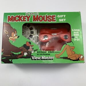 Vintage Disney Mickey Mouse View Master 3D Viewer Gift Set 3 Reels