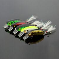 Lot 5pcs Kinds of Fishing Lures Crankbaits Hooks Minnow Baits Tackle 6cm 6# Hook