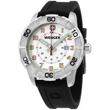 Wenger Roadster White Dial Black Silicone Strap Men's Watch 0851104