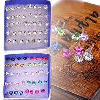 20 Pairs Rhinestone Crystal Plastic Round Earrings Stud Women Wholesale Jewelry