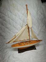 "Vintage 24"" Wooden Model Pond Yacht Sailboat Handmade Antique Boat Rare"