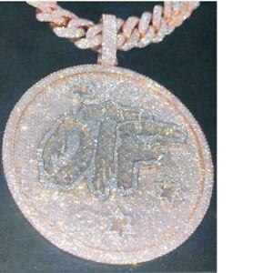 "14K Rose Gold Finish Customize ""OTF"" Ice Out Diamond Men's Hip Hop Charm Pendant"