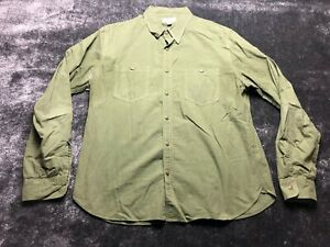 Wallace & Barnes Men's Green Button Front Long Sleeve Shirt Size Large