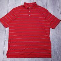 Footjoy FJ Golf Polo Shirt Mens XL Red Striped Performance Short Sleeve P119