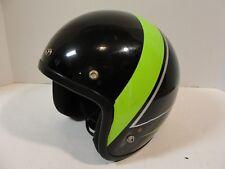 Vintage Arctic Cat Snowmobile Motorcycle Helmet Black Green Racing Stripe sz L