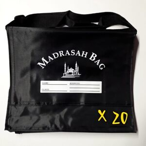20X CHILDREN'S MADRASAH BAG   LARGE SIZE   WITH STRAP   BLACK   MOSQUE