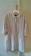 Mens Docker GOLF / Polo SHIRT Size (L) Striped Pattern Short Sleeve White Nice