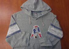 Majestic New England Patriots Football Stitched Throwback Hoodie Sweatshirt L