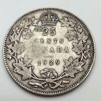 1929 Canada 25 Twenty Five Cents Circulated Quarter Canadian Coin C680