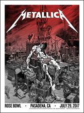 Metallica Pasadena CA Official SILKSCREEN VARIANT Poster 7/29/17 Wrightson VIP
