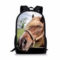 Vintage Horse Print Backpack Shoulder Handbag Women Mens Casual Daypack Bookbags