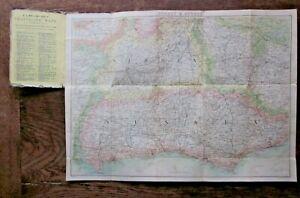 Late 19thC Victorian Surrey Sussex Antique Folding Map Brighton Chain Pier Smith