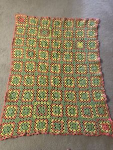 """Vintage 40"""" x 54"""" GRANNY SQUARE Afghan/Throw Coral/Green/Yellow"""