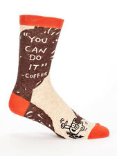Men's Crew Socks, You Can Do It Coffee, Blue Q Cotton Novelty Father's Day Gift
