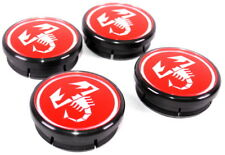 4 x Abarth Red Alloy Wheel Centre Caps 44mm in 50mm out New Genuine 51811808 x 4