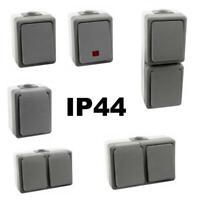 Feuchtraum Steckdose Schalter Aufputz Schuko IP44 FR Wechselschalter außen