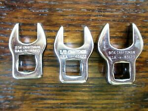 """Craftsman 3/8 Drive 3-pc Crow Foot Set, 9/16, 1/2 and 7/16""""  MADE IN USA"""