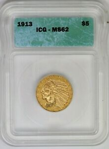 1913-P ICG $5 American Gold Indian Head Half Eagle Mint State MS62