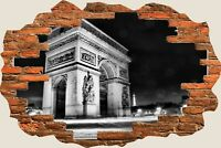 3D Hole in Wall Arc De Triomphe View Wall Stickers Mural Film Art Wallpaper 277