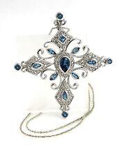 "Estate .925 Sterling Silver Blue & White Topaz Ornate Cross Pendant Necklace 24"""