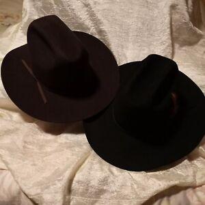 "Cowboy Hat Lot of 2 a Stallion 7 3/8"" Black & a Bailey 7 1/2"" Brown Cowboy Hats"