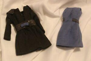 Jason Wu Fashion Royalty Blue Dress & Brown Coat Set Barbie Size Silkstone