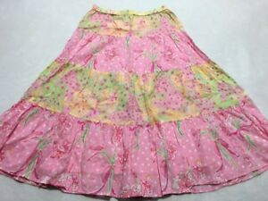 Lilly Pulitzer Womens S Small Pink Green Tiered Horse Lily Floral Skirt