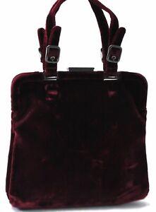 Authentic PRADA Suede Hand Bag Purple B7639