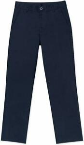 Nautica Husky Boys' Uniform Flat Front Pant, Navy, Large/14 - Husky