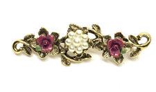 """Vintage Gold Tone Enamel Flower Faux Pearl 2"""" Brooch Pin"""