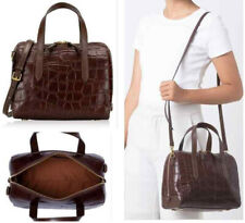 NWT Fossil Sydney Crossbody Satchel Brown Croco Embossed Leather Handbag Bag