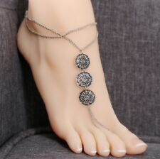 """1pc Anklet Silver Tone Coins Anklet 9.5"""" + 2"""" Long Chain necklace Foot Anc09 Uk"""