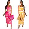 Women Tie-Dye Print Scoop Neck Sleeveless Knot Bodycon Club Party Long Dress 2pc