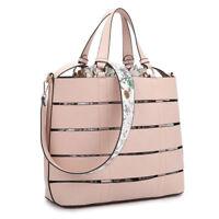 New 2 in 1 Women Handbag Faux Leather Tote Bag Satchel Medium Purse w/ a Bag
