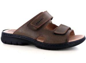 ROBERT 03010 marrone ciabatte sandali uomo strappi comfort casual  pelle