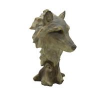 Wolf Head Bust Sculpture Statue Wild Life Farm Country Decor Hunter Deer