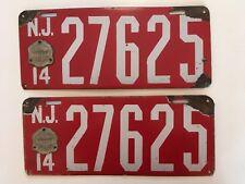 1914 New Jersey License Plate PAIR Porcelain Plates ORIGINAL Ford Model T Dodge