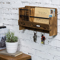 MyGift Wall Mounted Burnt Wood and Metal Pipe Entryway Mail Rack with Key Hooks