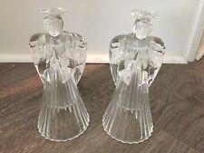 Vintage Avon Crystal Angel (2) Candle Holders