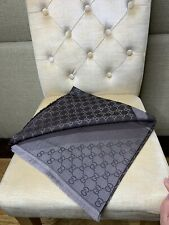 Authentic GUCCI scarf shawl GG Guccissima 140x140 cm wool silk BNWT In Brown