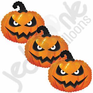 3 pc Grumpy Pumpkin Balloon Bouquet Happy Halloween Party Decoration Spooky