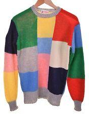 Clansman Bermuda Color Block Shaggy Scottish Shetland Wool Jumper Sweater M
