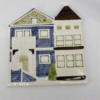 Vintage Otagiri Japan Ceramic Row House Plate Trivet Wall Hanging Tile