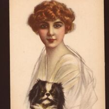 MINT!...BIANCHI GLAMOUR REDHEAD LADY WITH SPANIEL DOG,VINTAGE ITALIAN  POSTCARD